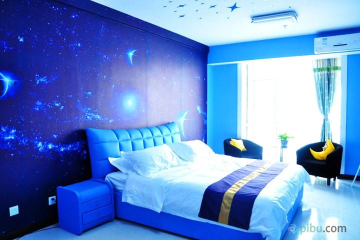 蓝色卧室星空吊顶图片